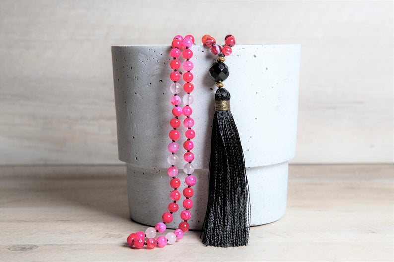 Long Red Agate and Rose Quartz Mala with Black Agate Guru Bead, Beaded Necklace with Long Black Rayon Tassel