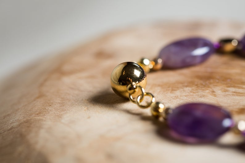 Natural Amethyst Beaded Bracelet with Gold Hematite and Magnetic Clasp, 6th Anniversary Jewelry Set