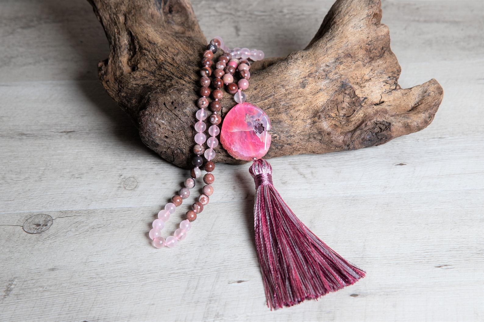 Rose Quartz Mala with Red Jasper and Rhodochrosite - Pink Geode Agate Guru Bead - Handmade Tassel of Plant Silk - Long Boho Necklace Gift