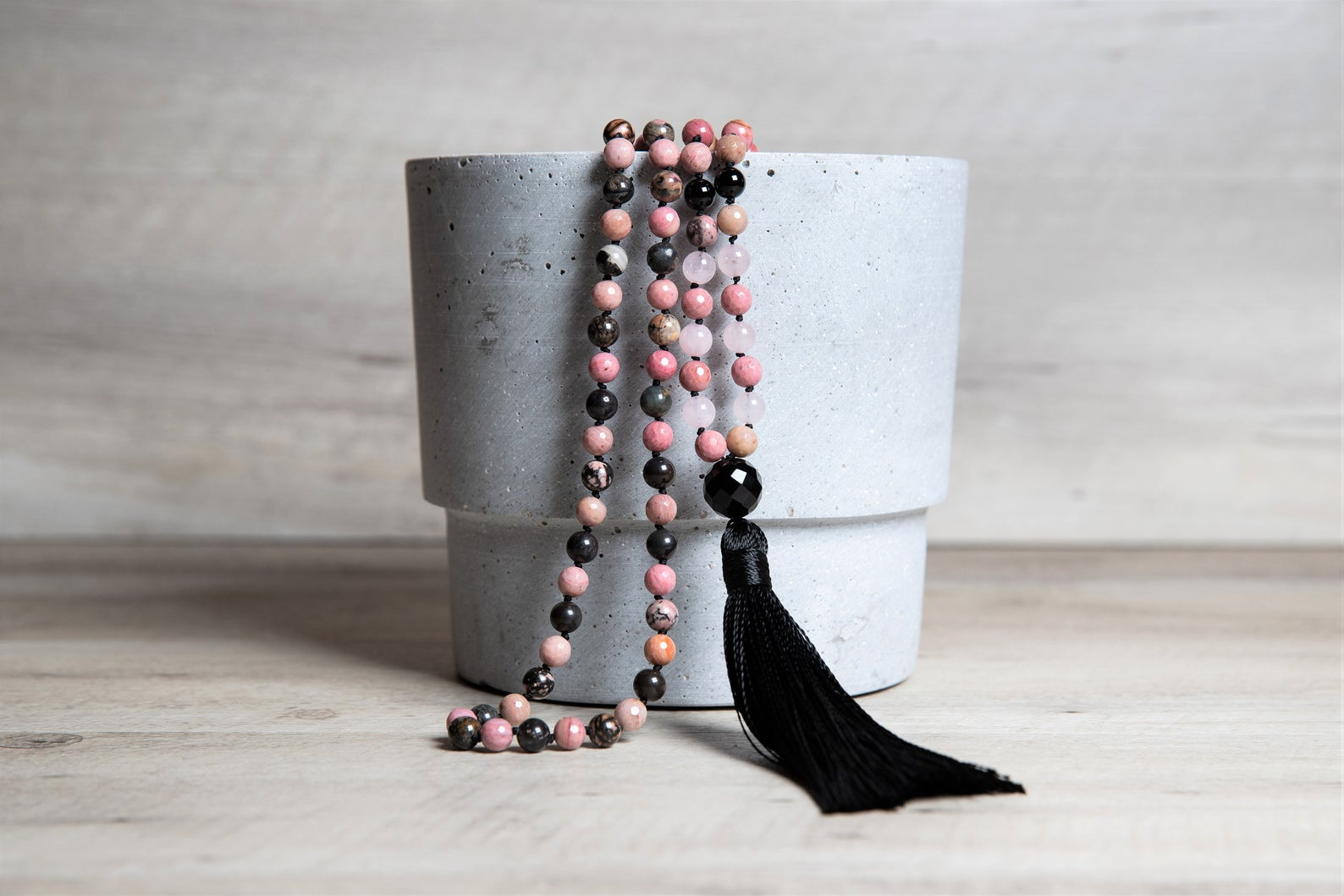 Natural Rhodonite, Pink Rhodochrosite n' Rose Quartz Mala Necklace with Black Agate Guru and Handmade Tassel, Healing Crystals for Love