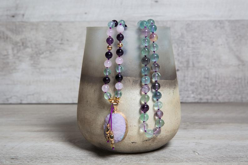 Fluorite, Amethyst n' Rose Quartz Long Mala Necklace with Druzy Agate Pendant