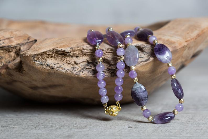 Amethyst Short Necklace with Golden Magnetic Clasp