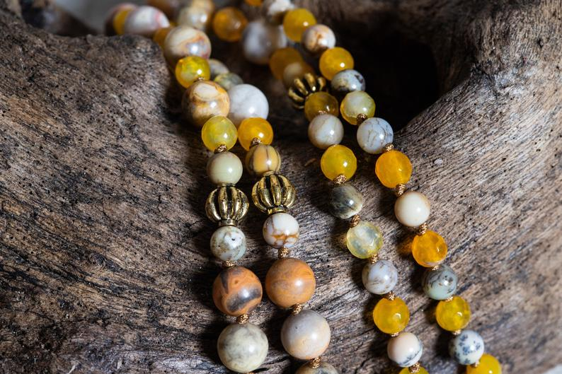 Yellow Crazy Lace Agate Beads