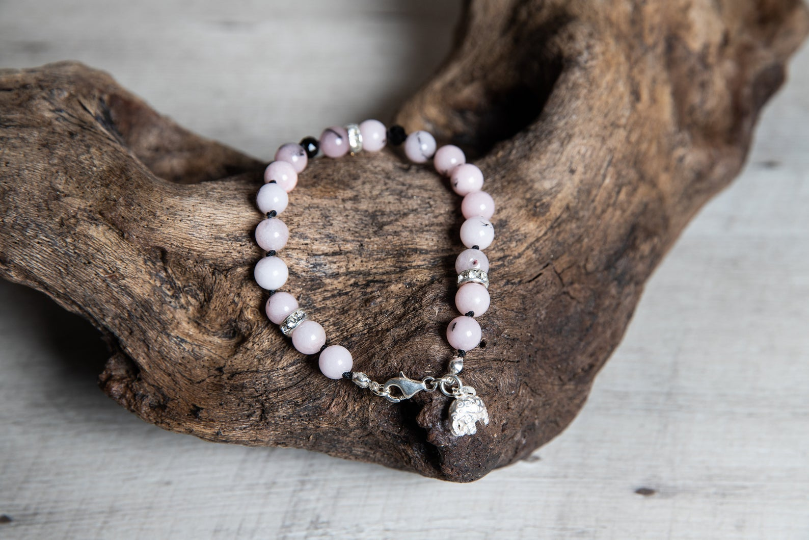 Cherry Blossom Jasper Beaded Bracelet with Black Crystals and Silver Elephant Charm, Elegant Boho Jewelry