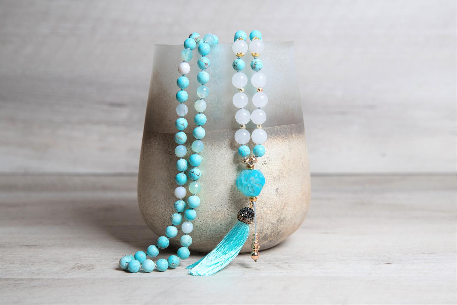 Genuine Turquoise n' White Jade Mala, Raw Agate Guru, Paved Cap Tassel, Long Boho Necklace for Women, 11th Anniversary Gift for Wife