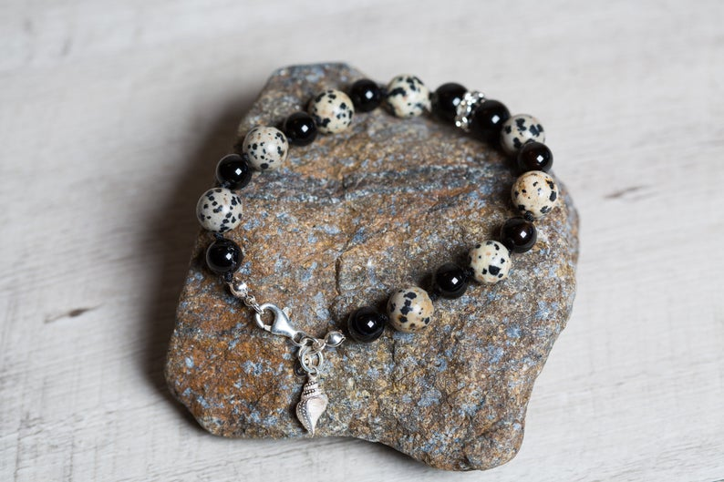 Dalmatian Jasper n' Black Agate Beaded Bracelet with Silver Shell Charm, Mothers Day Boho Jewelry Set