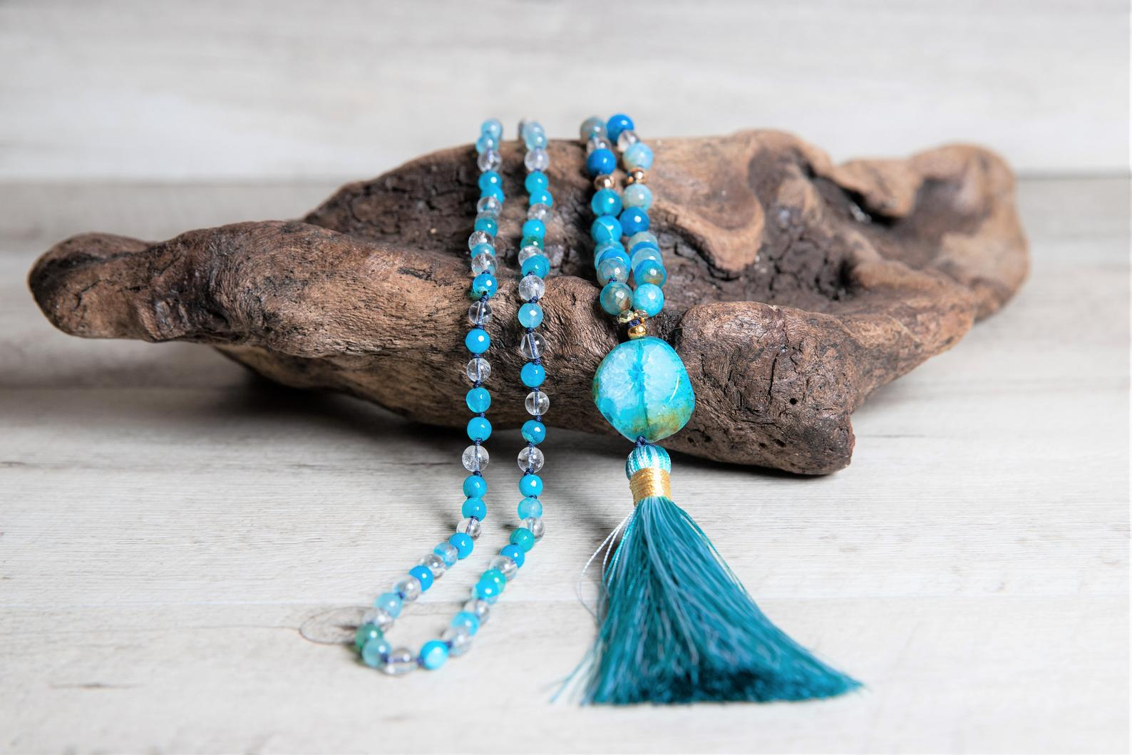 Blue Sky Agate n' Crystal Quartz Mala Necklace, Agate Geode Guru, Handmade Rayon Tassel, Long Boho Necklace,3 Year Anniversary Gift for Wife