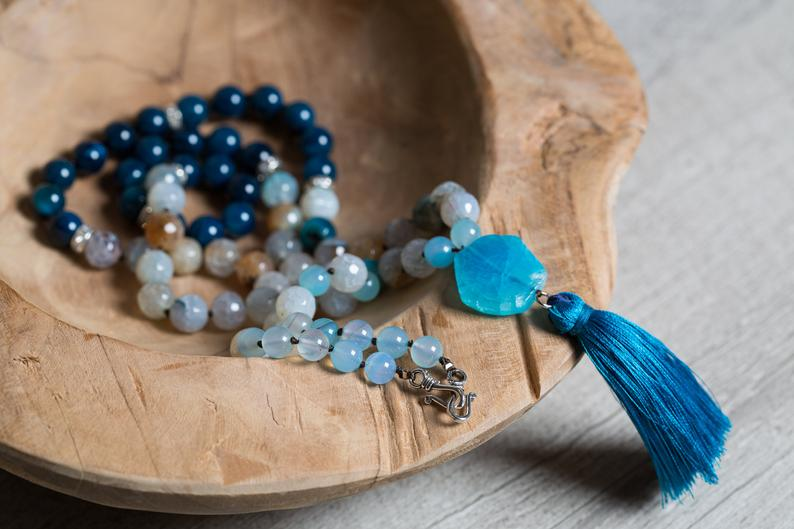 Thisblue Agate beaded necklace with pendant and tassel, is gorgeous! Perfect for summer!