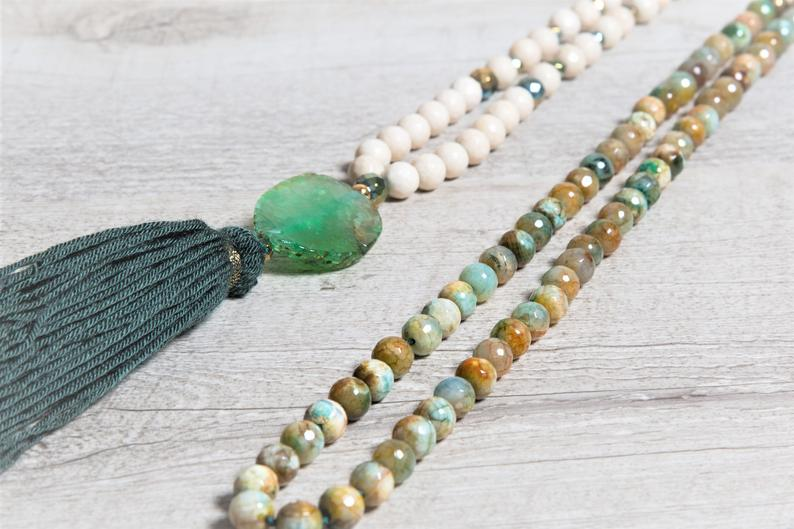 Natural Green Agate, Hematite n' Fossil Mala Necklace, Raw Agate Guru Bead, Green Handmade Tassel, Gift for Meditation
