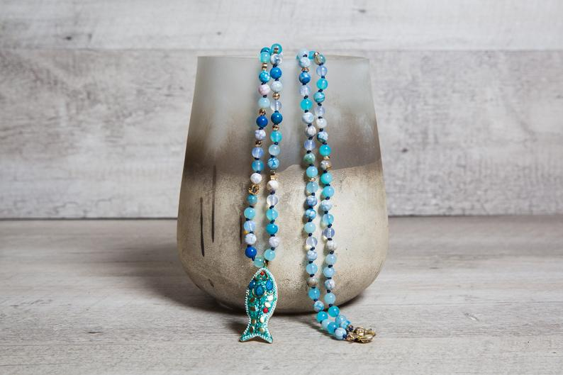 Blue lace agate and moonstone beaded necklace with a fish pendant. Totally boho, perfect gift for girlfriend!