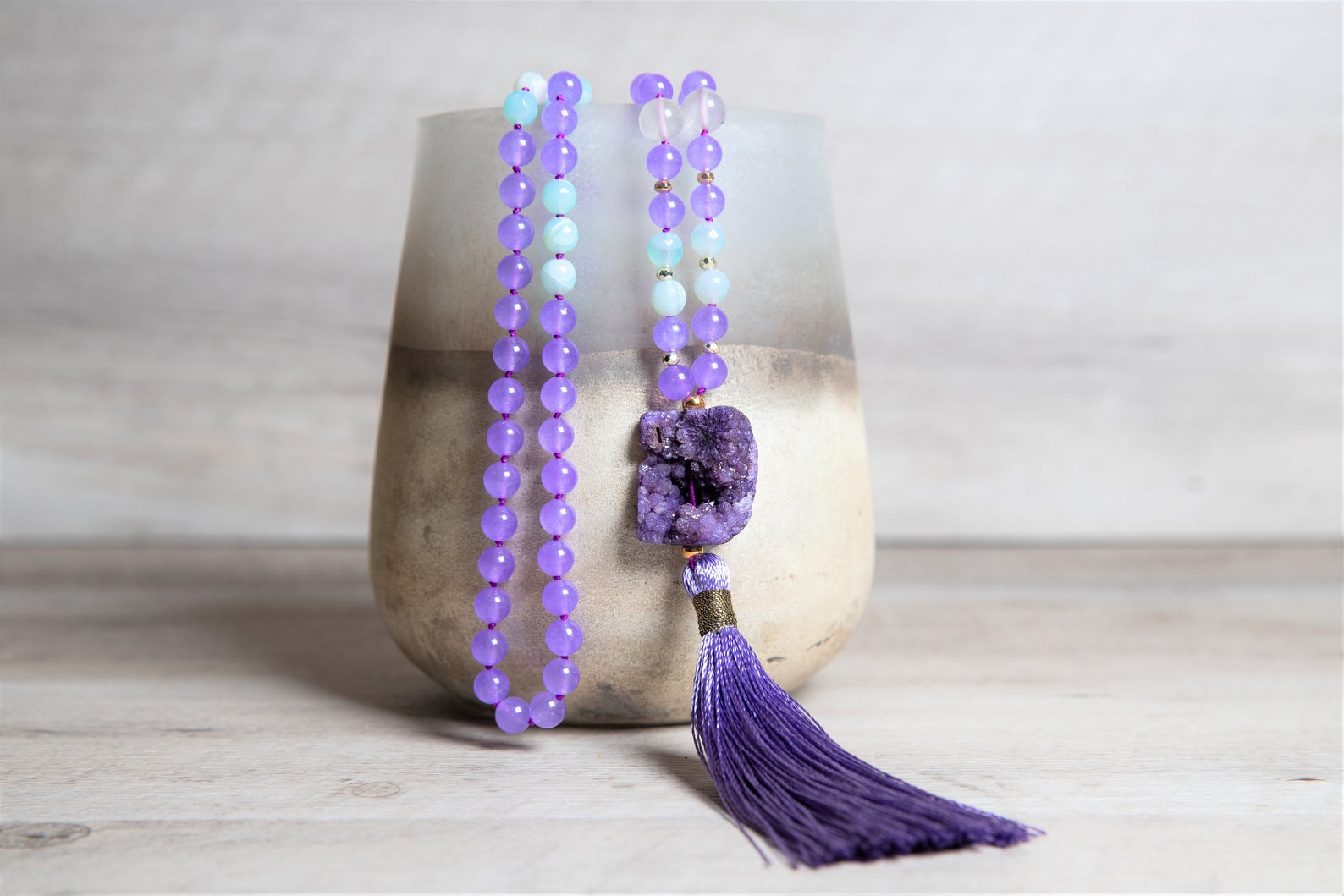 Agate and Jade 108 Mala Necklace, Druzy Agate Guru, Purple Handmade Tassel, Layered and Long Boho Necklace, 30th Birthday Gift for Her