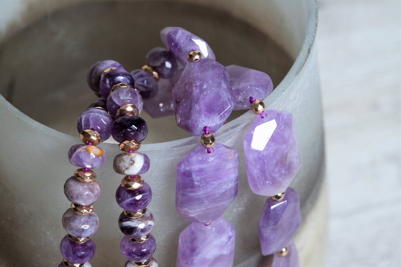 Natural Amethyst n' Gold Hematite Statement Necklace