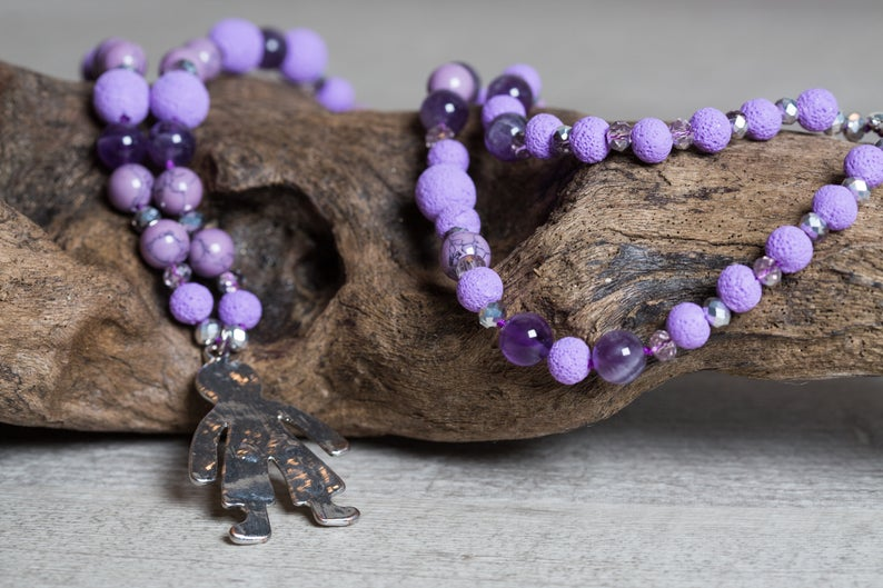 Howlite, Amethyst n' Lava Long Necklace with Child Figure Pendant