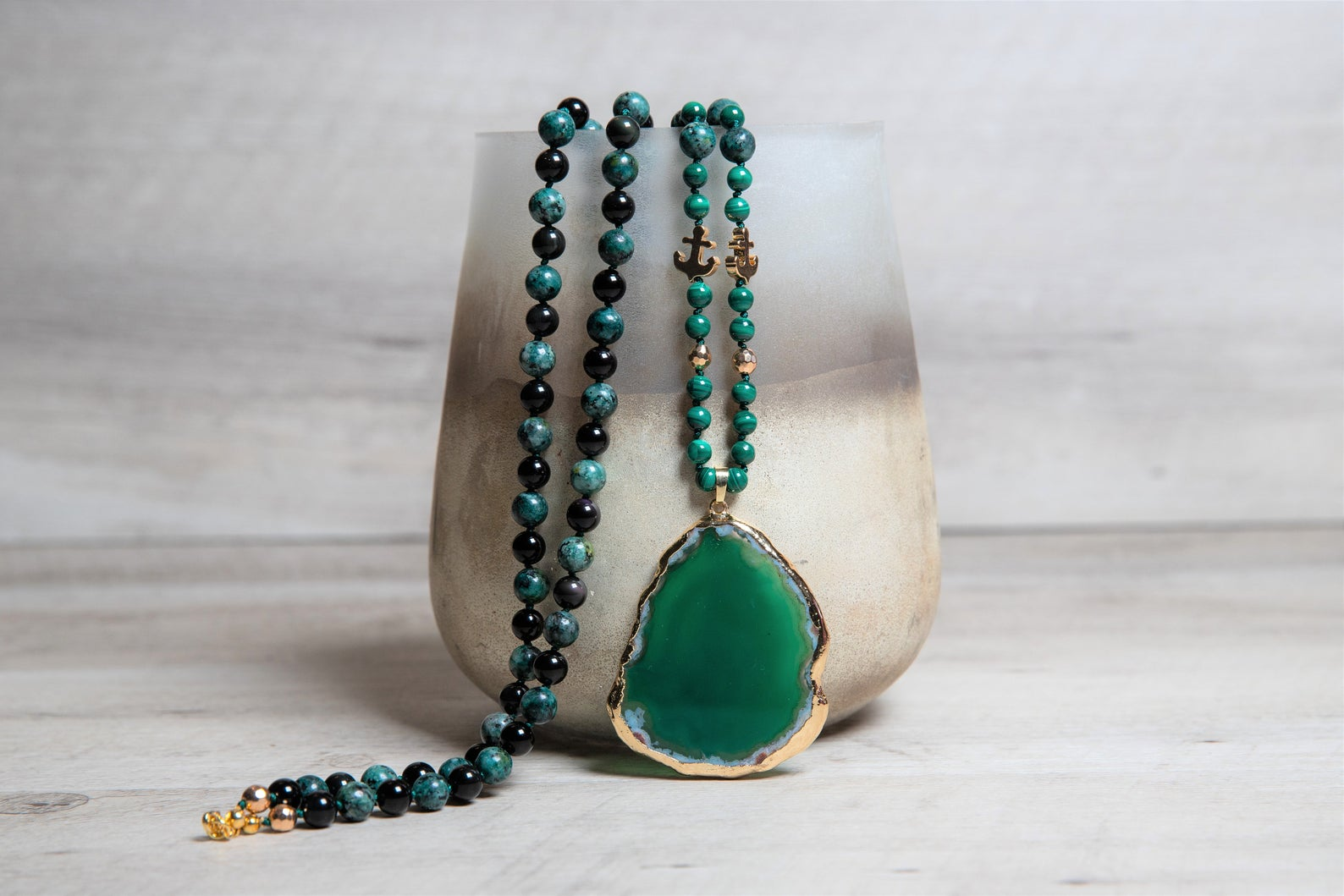Long Boho Malachite Necklace with Black Obsidian and African Turquoise - Large Green Agate Geode Pendant - 40th Birthday Gifts for Women