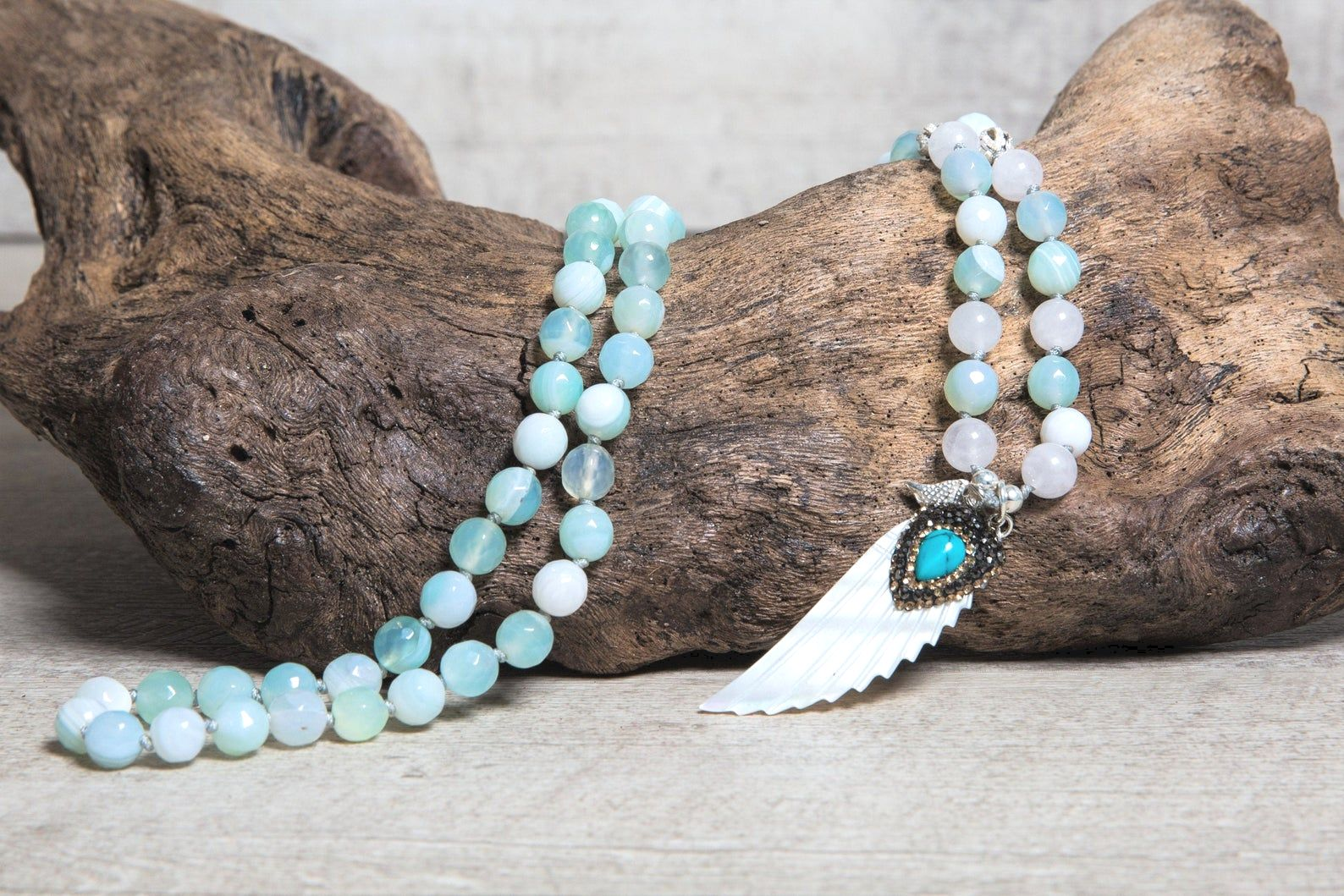 Frosted Agate n' White Jade Mala Beaded Necklace, Ivory Paved Pendant with Turquoise Stone, Summer Boho Jewelry for Her