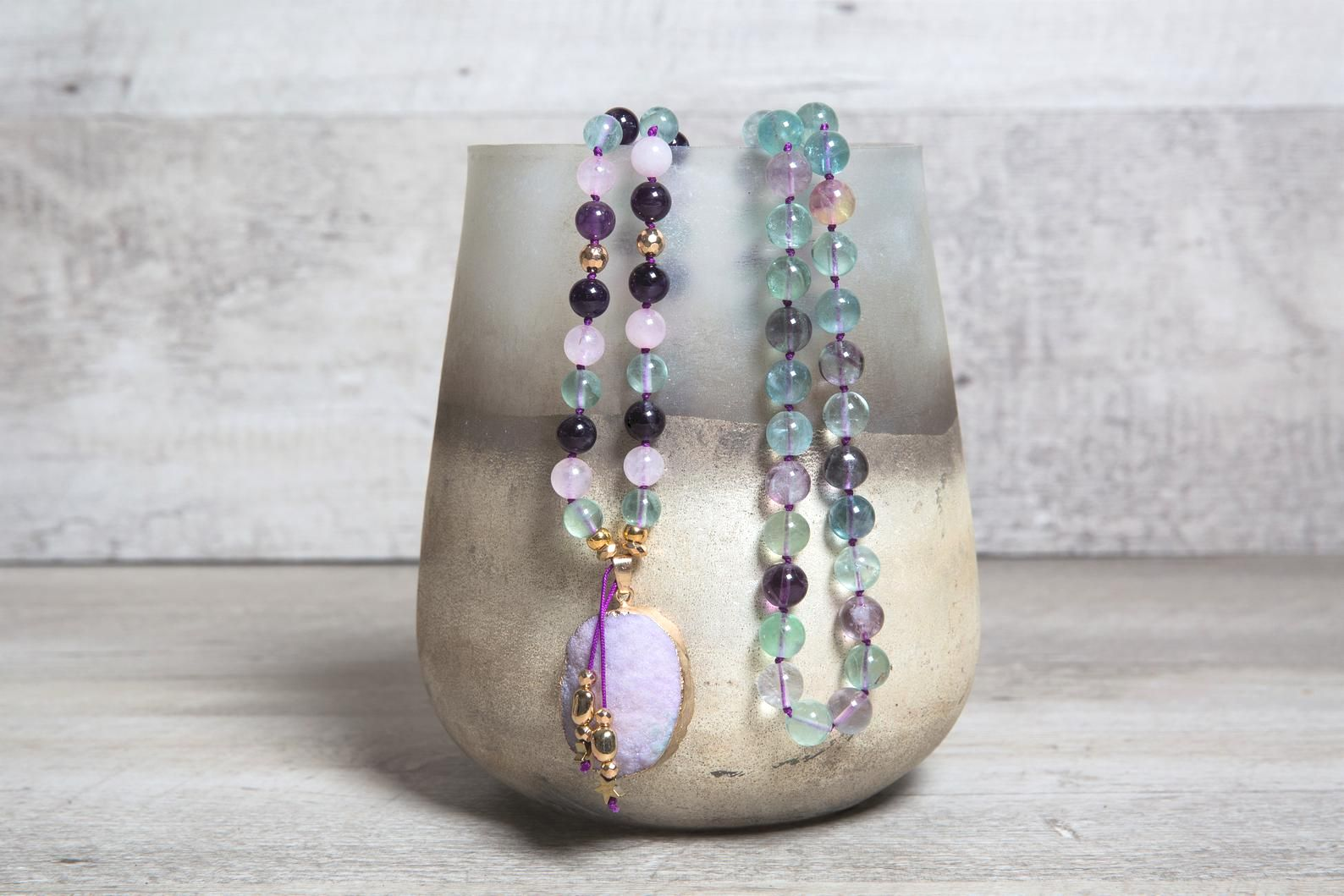 Fluorite, Amethyst n' Rose Quartz Long Mala Necklace with Druzy Agate Pendant, Unique Valentine's Gift for Wife