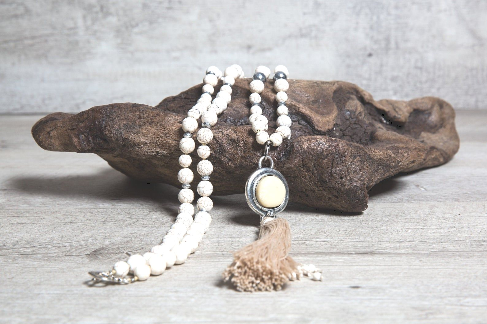 Beige Howlite Long Beaded Necklace with Silver Hematite, Ivory Stone Pendant and Handmade Tassel, Boho Jewelry Gifts