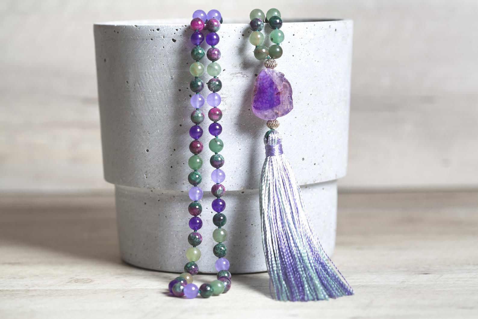 Green Aventurine n' Purple Jade Mala Necklace, Mauve Geode Agate Guru Bead, Rainbow Handmade Rayon Tassel, Boho Jewelry Gift for Women