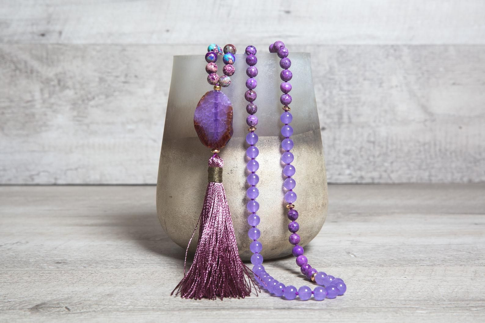 Natural Malaysia Jade Mala Necklace, Crazy Purple Agate n' Blue Violet Regalite with Raw Agate Guru Bead, One of a Kind