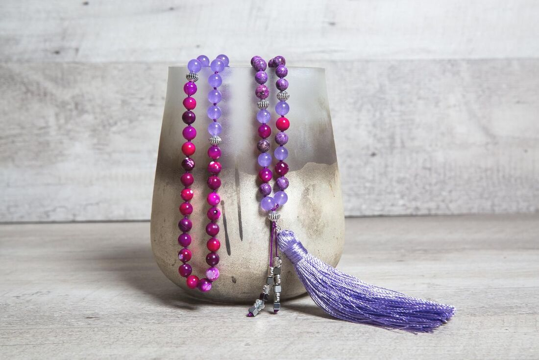 Purple Jade n' Agate Long Mala Necklace, Violet Handmade Tassel, Antique Silver Beads, Unique Valentine's Gift for Her