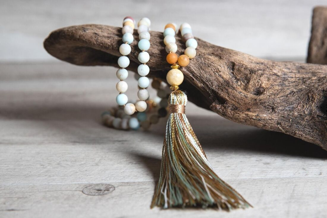 Matte Amazonite and Aventurine Mala Necklace with Amazonite Guru Bead and Rainbow Handmade Tassel, Unique Boho Jewelry